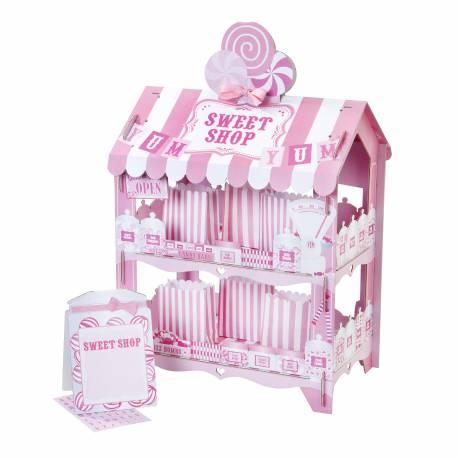 Superbe stand à confiserie en carton Sweet shop, à poser sur vos buffet de fête et vos candy bar Le stand est livré avec 12 sachets en...