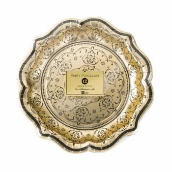 12 Assiettes vintage baroque or/noire