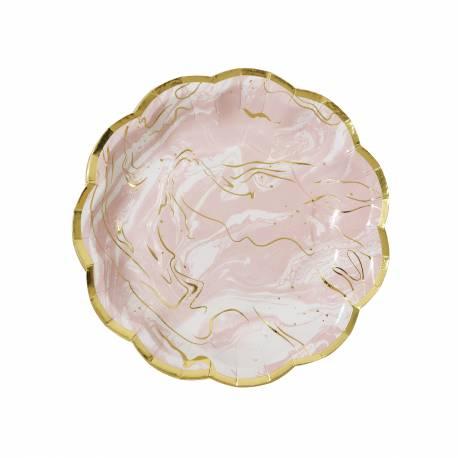 Assortiment de 8 superbes assiettes à dessert en carton vintage imitation marbre rose et or, idéal pour un goûter ou un pic nique dans...