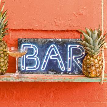 Pancarte lumineuse Bar bleu