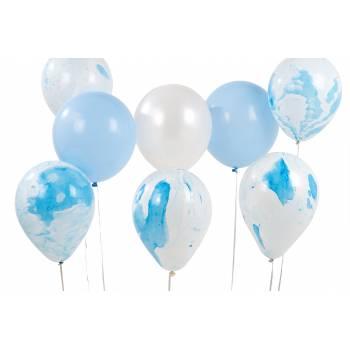 12 Ballons marbrés bleu