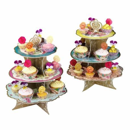 Présentoir à cupcakes 3 étages en carton à monter thème vintage floral Les plateaux sont recto verso avec un design différent Dimensions...