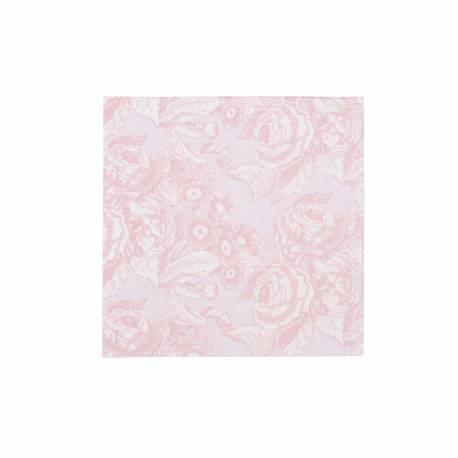 20 Serviettes à dessert baroque rose Dimensions : 25 cm x 25 cm