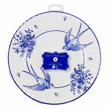 8 mega Assiettes porcelaine bleu