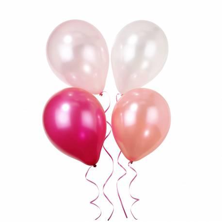 Assortiment de 10 ballons latex dans les tons de rose Livré avec 5 Mètres de rubans Contient: 4 ballons rose, 3 ballons fuschia, 3...