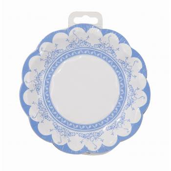 12 Assiettes cocktail vintage porcelaine bleu