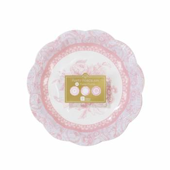 12 Assiettes dessert vintage porclaine rose