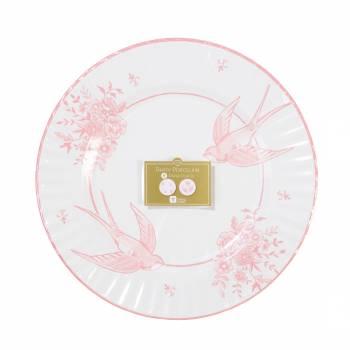 8 mega Assiettes porcelaine rose