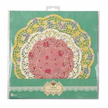 24 Napperons en papier vintage floral