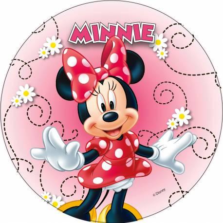 Disque azyme Minnie joyeuse pour la déco de vos gâteaux d'anniversaire. Simple et rapide à poser, le disque azyme conserve un goût...