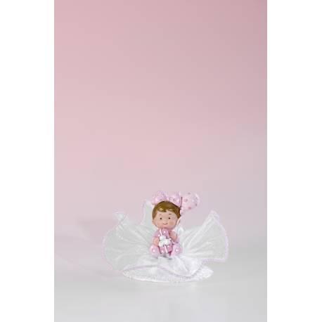 Figurine rose pour poser sur votre gâteau ou pièce montée de baptême Modèle aléatoire avec cadeau ou gâteau Dimensions : H 8.5 cm