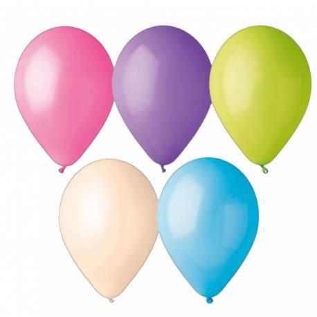 Assortiment de 100 Ballons en latex de couleur pastel pour la deco de vos fêtes d'anniversaire. Ø 30 cm Circonférence: 105 cm