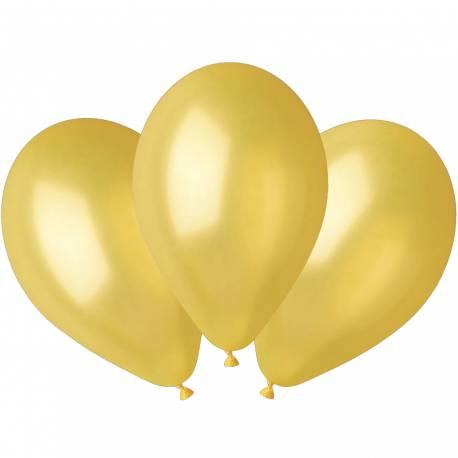 100 Ballons en latex de couleurmétallisésjaune Ø 30 cm Circonférence: 85 cm
