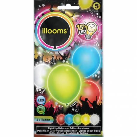 Paquet de 5 ballons multicolore lumineux à LED Ø23cm Ne peut pas être gonflé avec de l'hélium
