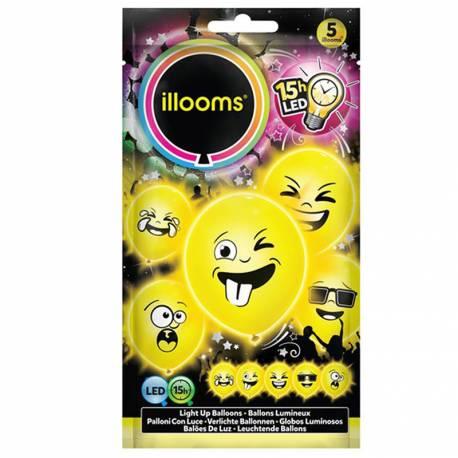 Paquet de 5 ballons emoji lumineux à LED pour la deco de vos fête d'anniversaire. Ø23cm Ne peut pas être gonflé avec de l'hélium