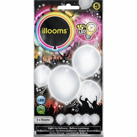 Paquet de 5 ballons blanc lumineux à LED Ø23cm Ne peut pas être gonflé avec de l'hélium