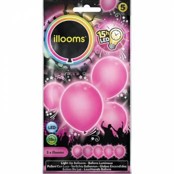 5 Ballons lumineux rose