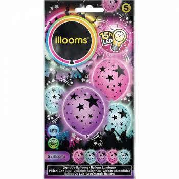 5 Ballons étoiles pastel lumineux assortis