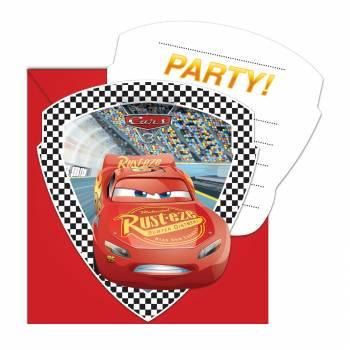 6 Cartes invitations Princesse Cars 3