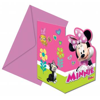 6 Invitations Minnie happy + enveloppes
