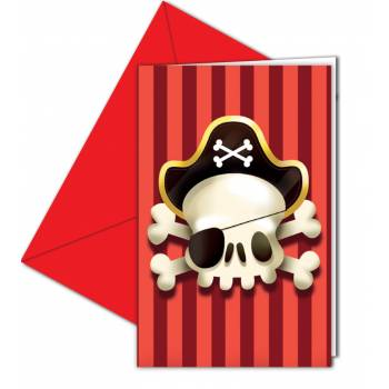 6 Cartes invitations Pirate powerful