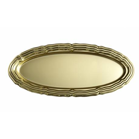 5plateaux traiteur ovale or en plastique grand modele Dimensions : 58 cm x 30 cm