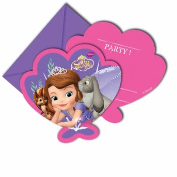 6 Cartes invitations Princesse Sofia mystic