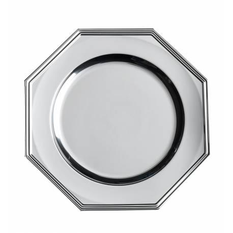 3 Plat ou assiettes octogonal en plastique rigide couleur argent Ø 33 cm