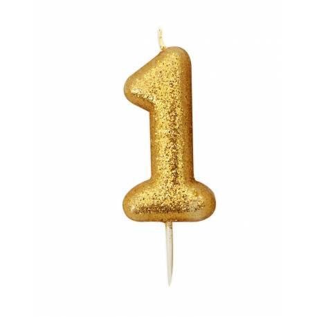 Bougie d'anniversaire en cire en forme de chiffre, couleur pailletés or Chiffre N° 1 Taille 7 cm