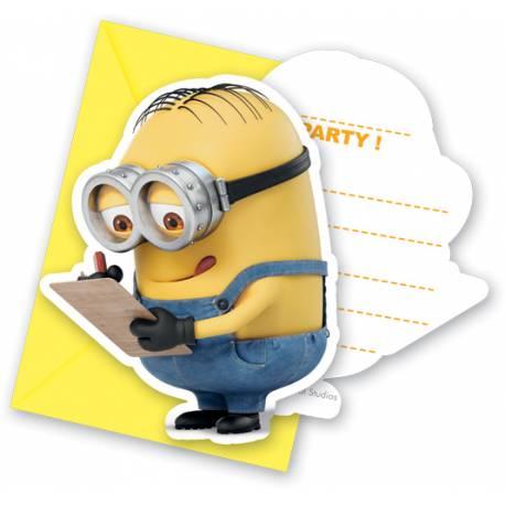 6 Cartes invitations avec enveloppes les Minions pour l'anniversaire de votre enfant.