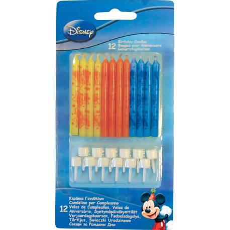 Lot 12 Bougies Mickey Mouse pour créer une belle décoration d'anniversaire à thème à votre enfant. Accompagnées de 12 bobêches. Hauteur:...