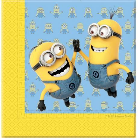 20 Serviettes en papier thème Les Minions pour la décoration anniversaire de votre enfant. Dimensions : 33cm x 33cm/16.5cm x 16.5cm