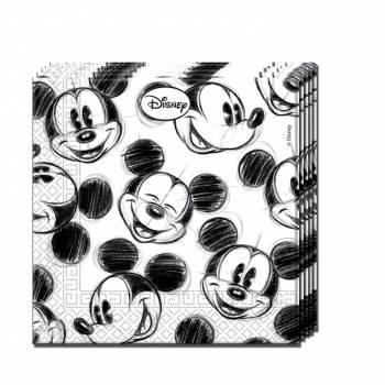 25 Serviettes Mickey croquis
