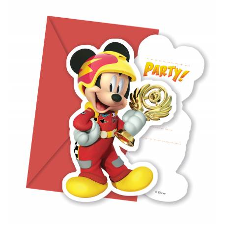 6 Cartes invitations anniversaire + enveloppes Mickey roadster racers