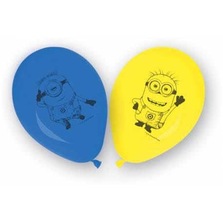 8 ballons latex thème les Minions pour la déco anniversaire de votre enfant.