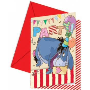 6 cartes invitations winnie alphabet