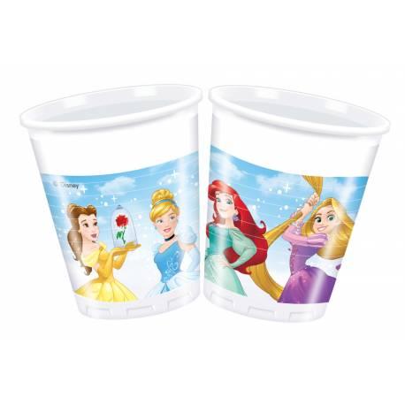 8 Gobelets en plastiquepour anniversaire thèmePrincesses Disney Ø 20 cl