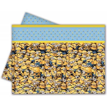 Nappe en plastique Les Minions pour la deco de table d'anniversaire de votre enfant Dimensions : 120 cm x 180 cm