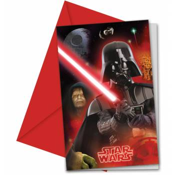 6 Cartes d'invitation Star Wars final battle