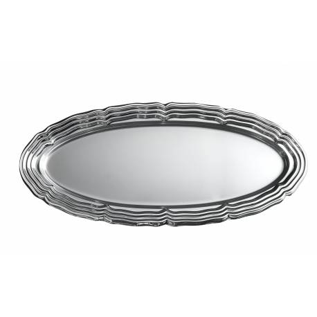 5plateaux traiteur ovale argent en plastique grand modele Dimensions : 58 cm x 30 cm