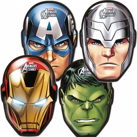 6 Masques Avengers mighty en carton pour la décoration anniversaire de votre enfant.
