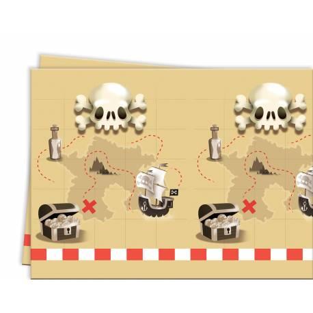 Nappe en plastique thème Pirate powerful pour la deco anniversaire de votre enfant. Dimensions : 180 cm x 120 cm