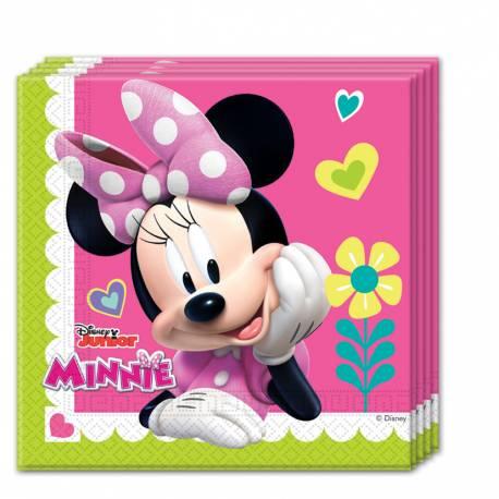 20 serviettes en papier pour anniversaire thème Minniehappy Disney Dimensions ouverte : 33 cm x 33 cm