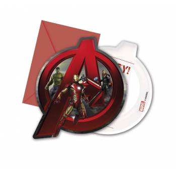 6 Cartes invitations + enveloppes Avengers age of ultron