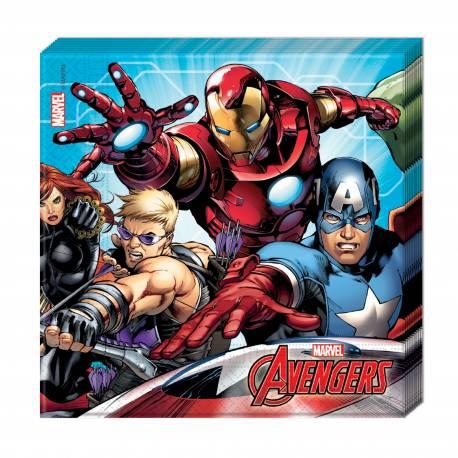 20 Serviettes Avengers mighty en papierpour la déco anniversaire de votre enfant. Dimensions : 18.5 cm x 18.5 cm / 33 cm x 33 cm
