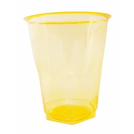 Lot de 10 gobelets en plastique cristal jaune 25 cl