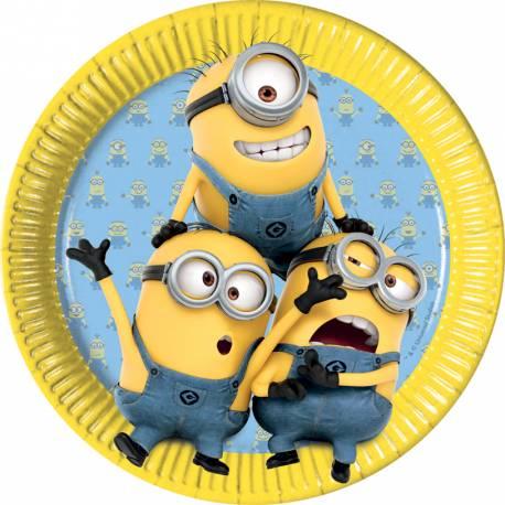 8 assiettes en carton thème les Minions pour la décoration anniversaire de votre enfant. Ø23cm
