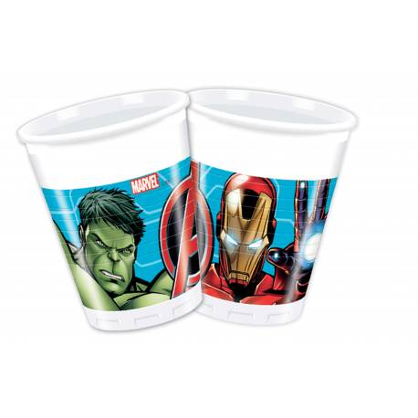 8 Gobelets Avengers mighty en plastiquepour la deco anniversaire de votre enfant. Ø 20 cl