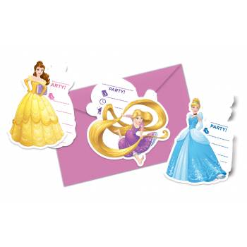 6 Cartes invitations Princesses Disney