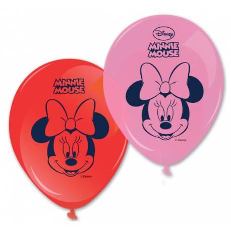 8 Ballons en latex pour anniversaire thème Minnie rose et rouge